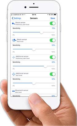 Application Pandora BT - réglage des détecteurs